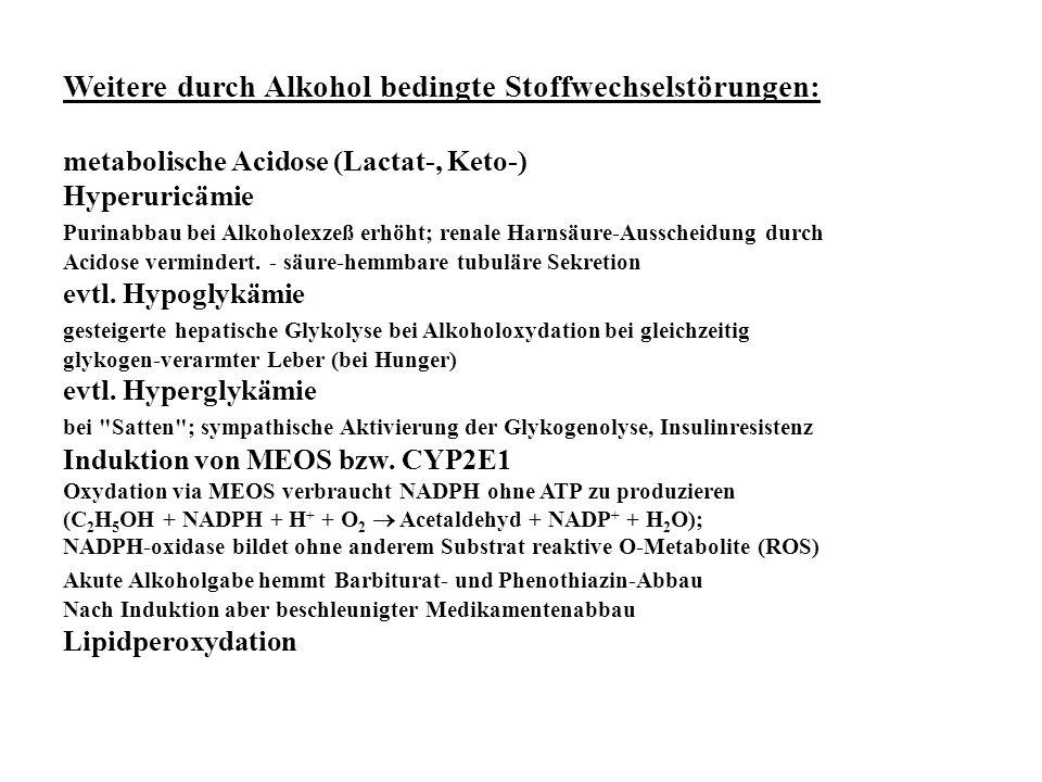 Weitere durch Alkohol bedingte Stoffwechselstörungen: