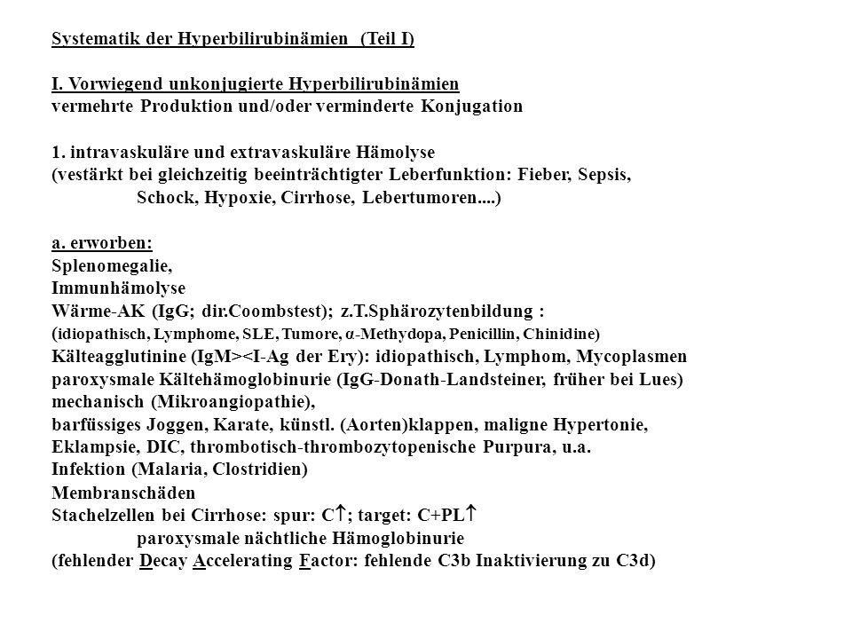 Systematik der Hyperbilirubinämien (Teil I)