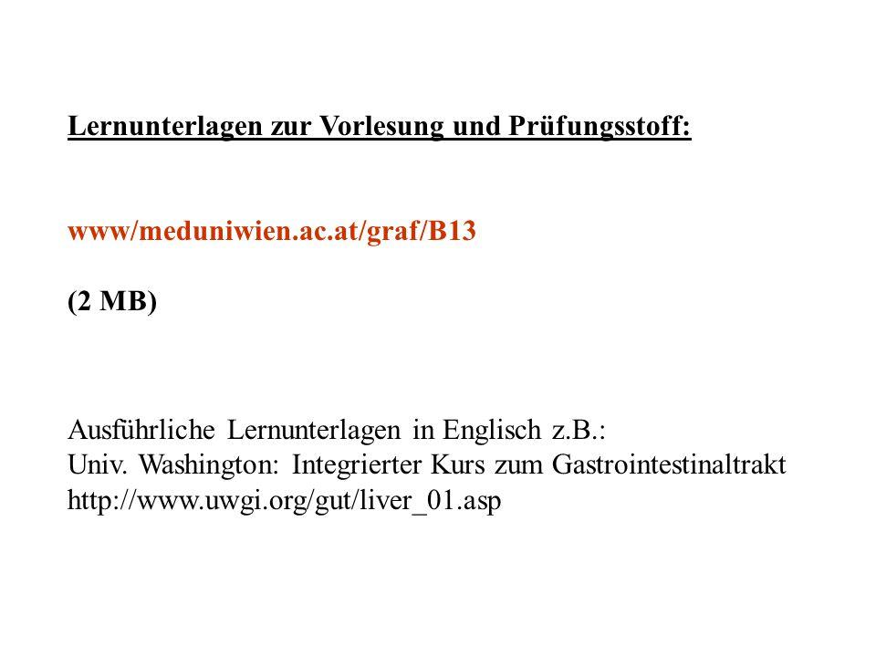 Lernunterlagen zur Vorlesung und Prüfungsstoff: