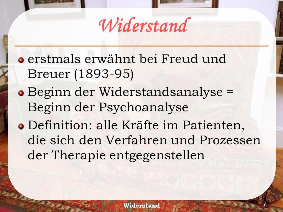 Widerstand erstmals erwähnt bei Freud und Breuer (1893-95)