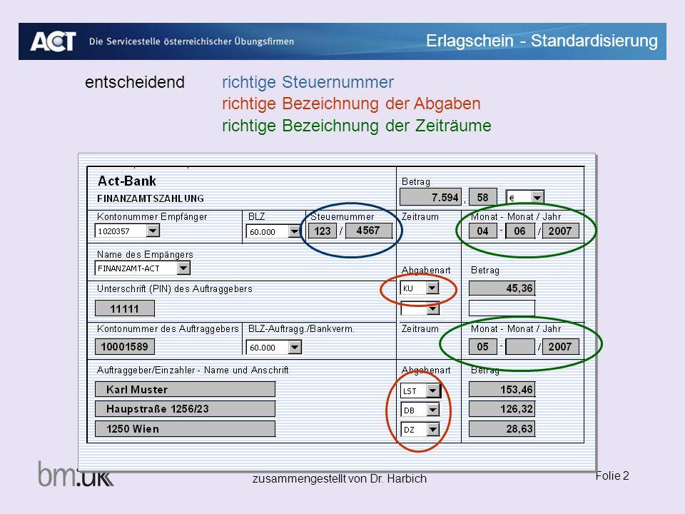 Erlagschein - Standardisierung