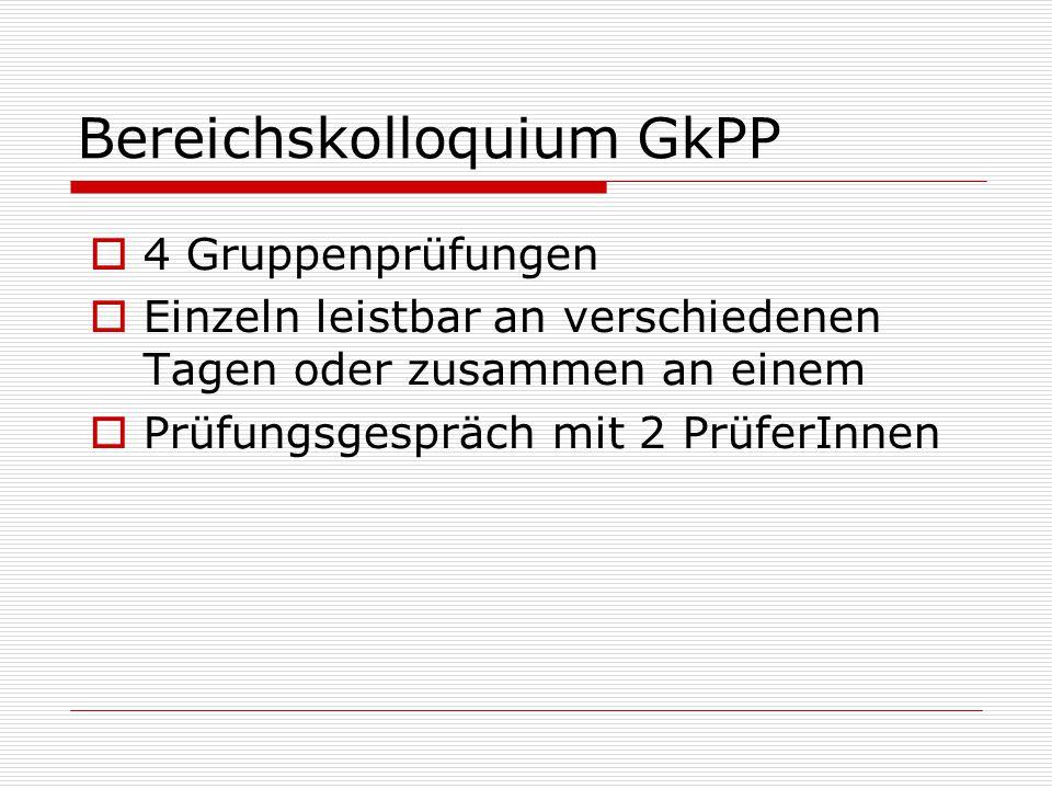 Bereichskolloquium GkPP