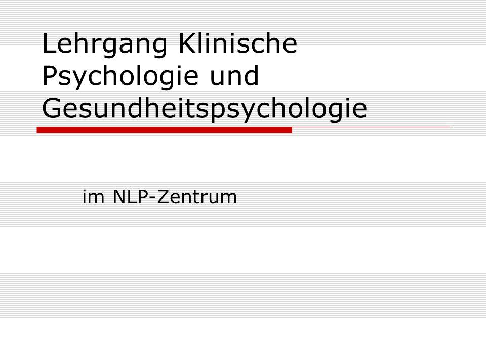Lehrgang Klinische Psychologie und Gesundheitspsychologie