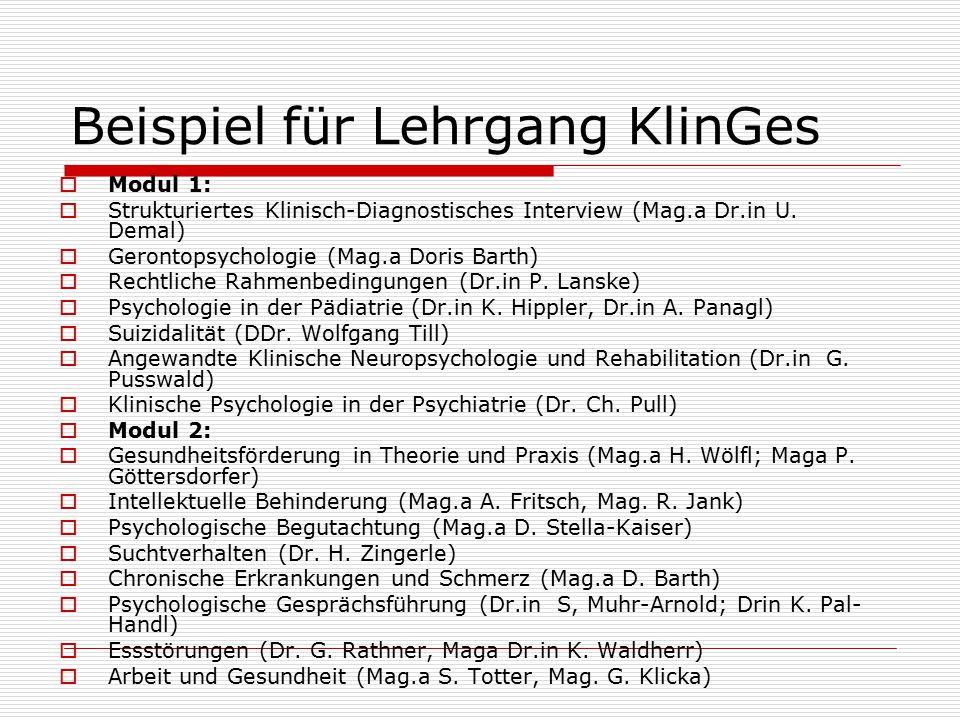 Beispiel für Lehrgang KlinGes