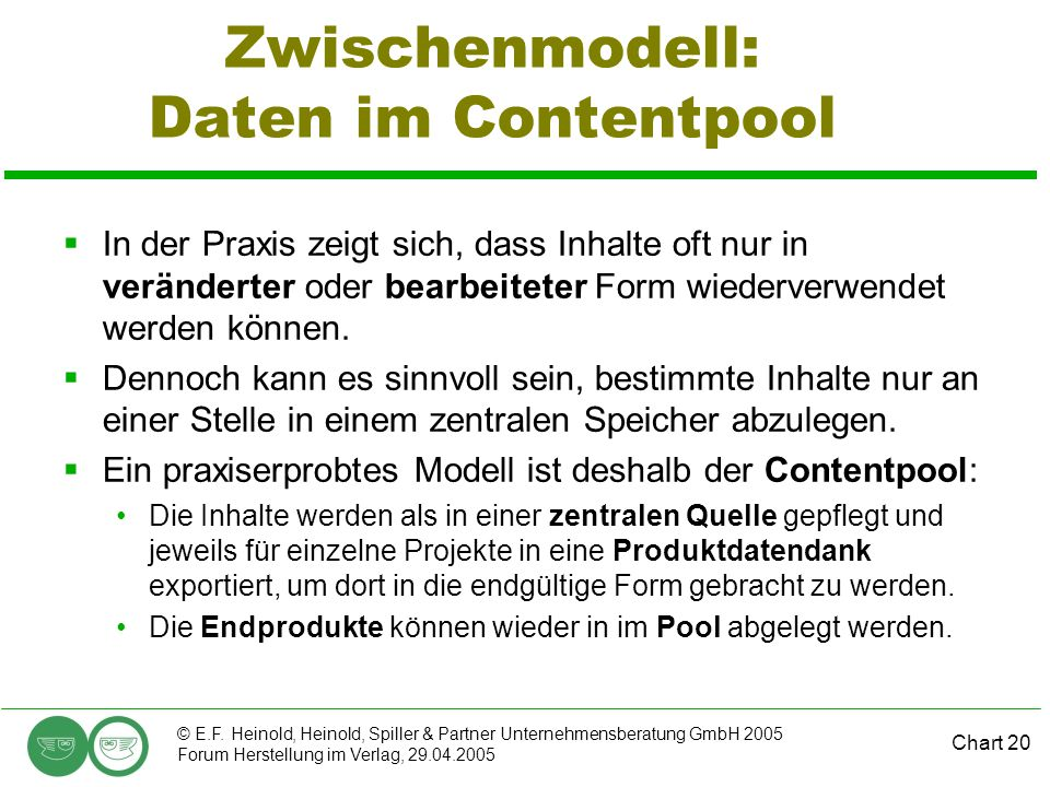 Zwischenmodell: Daten im Contentpool