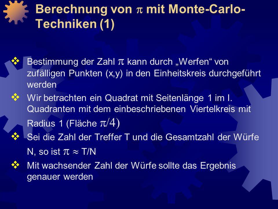 Berechnung von p mit Monte-Carlo-Techniken (1)