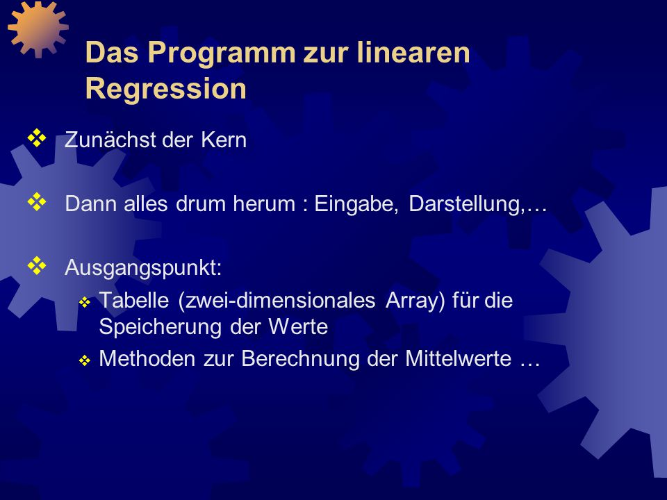 Das Programm zur linearen Regression