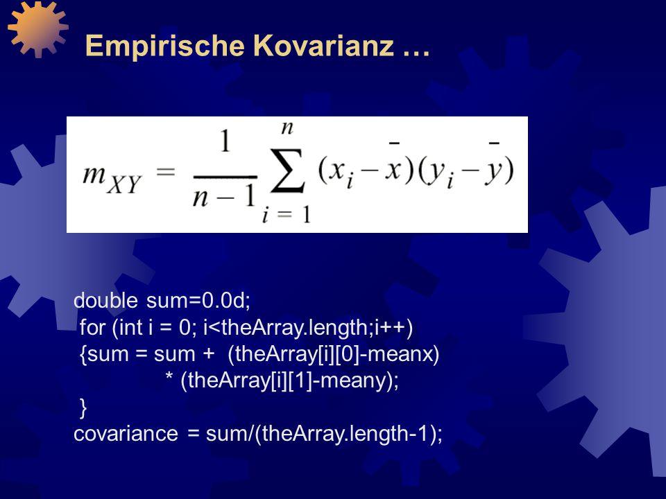 Empirische Kovarianz …