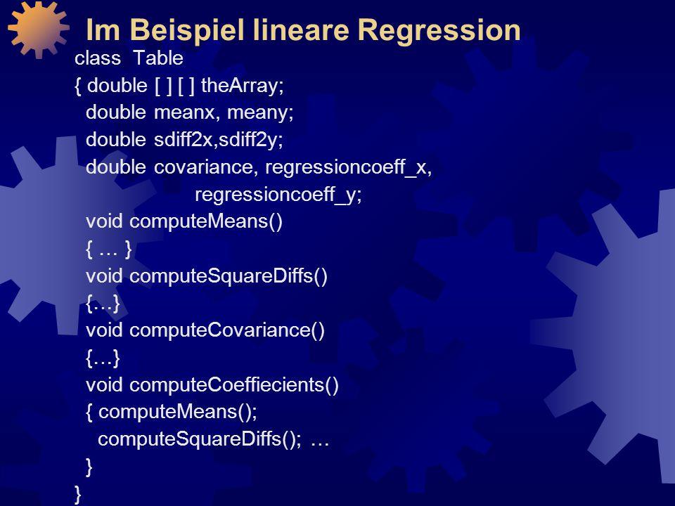 Im Beispiel lineare Regression
