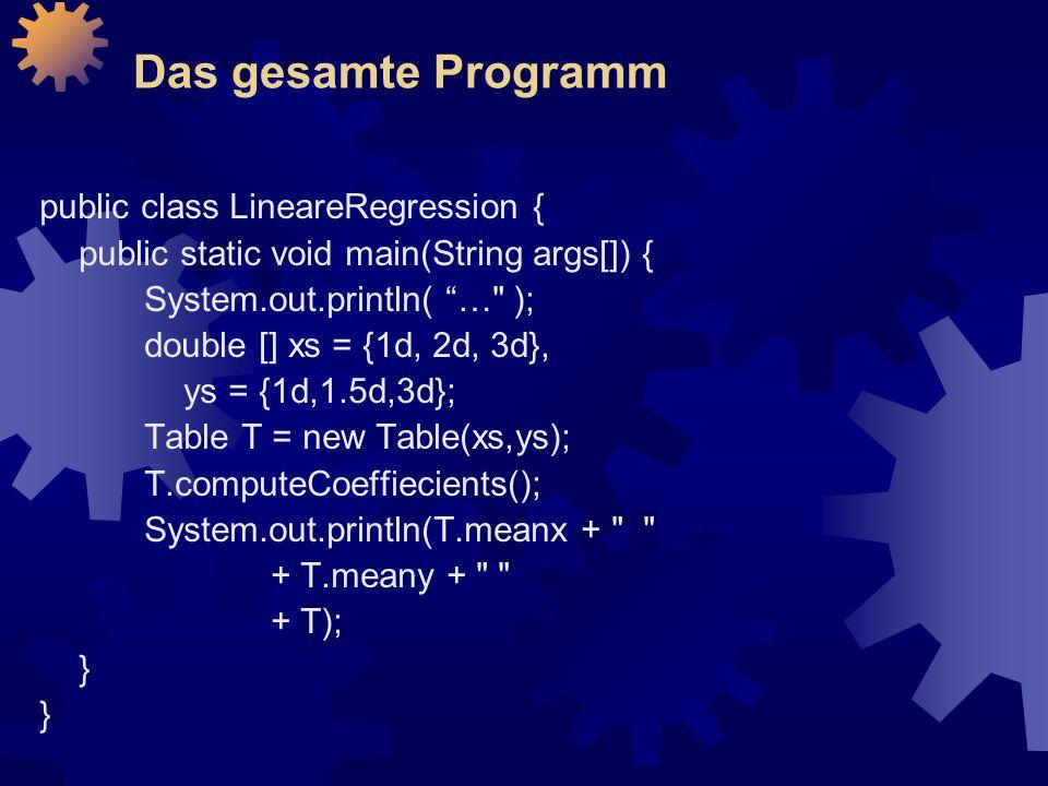 Das gesamte Programm public class LineareRegression {