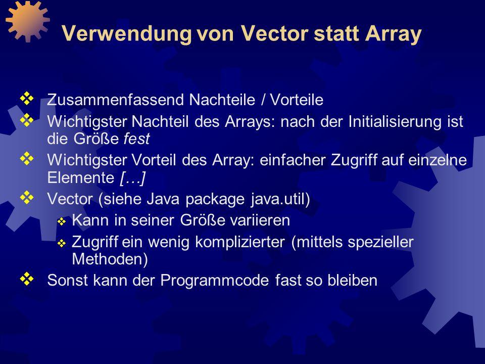 Verwendung von Vector statt Array
