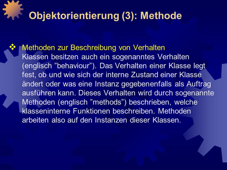 Objektorientierung (3): Methode