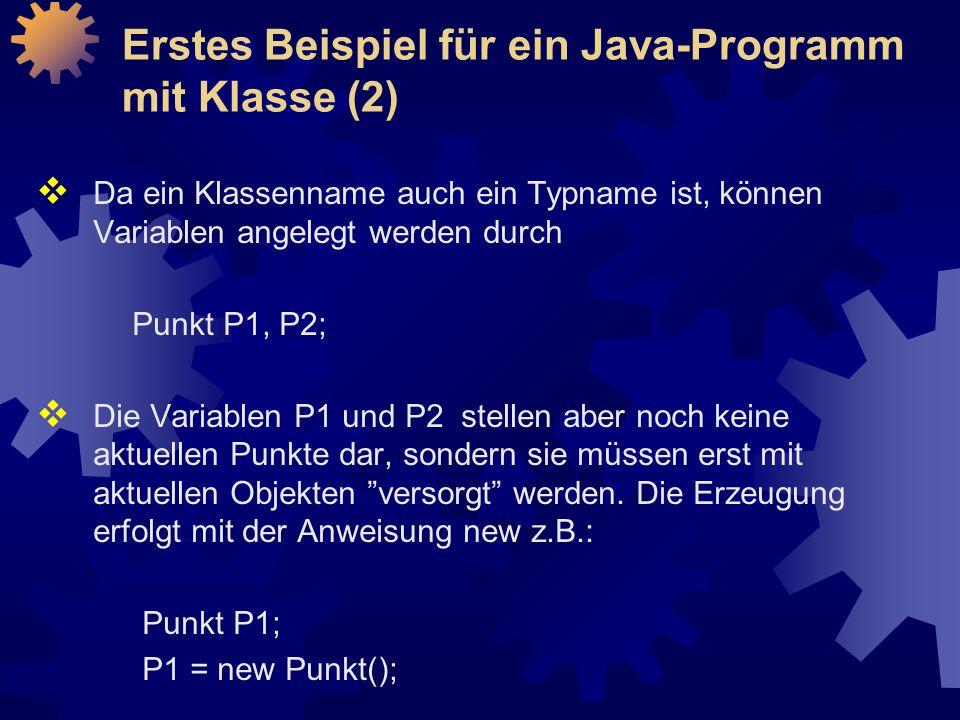 Erstes Beispiel für ein Java-Programm mit Klasse (2)