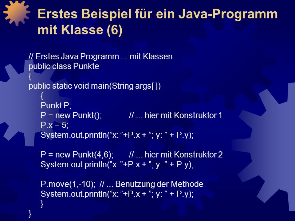 Erstes Beispiel für ein Java-Programm mit Klasse (6)