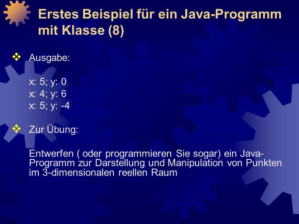 Erstes Beispiel für ein Java-Programm mit Klasse (8)