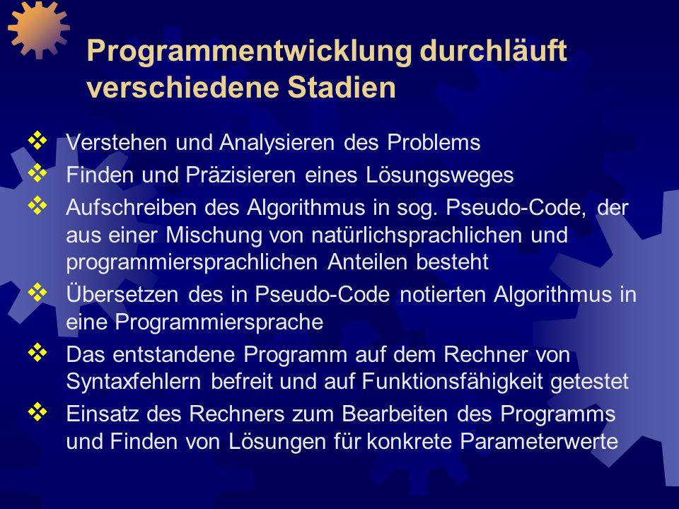 Programmentwicklung durchläuft verschiedene Stadien