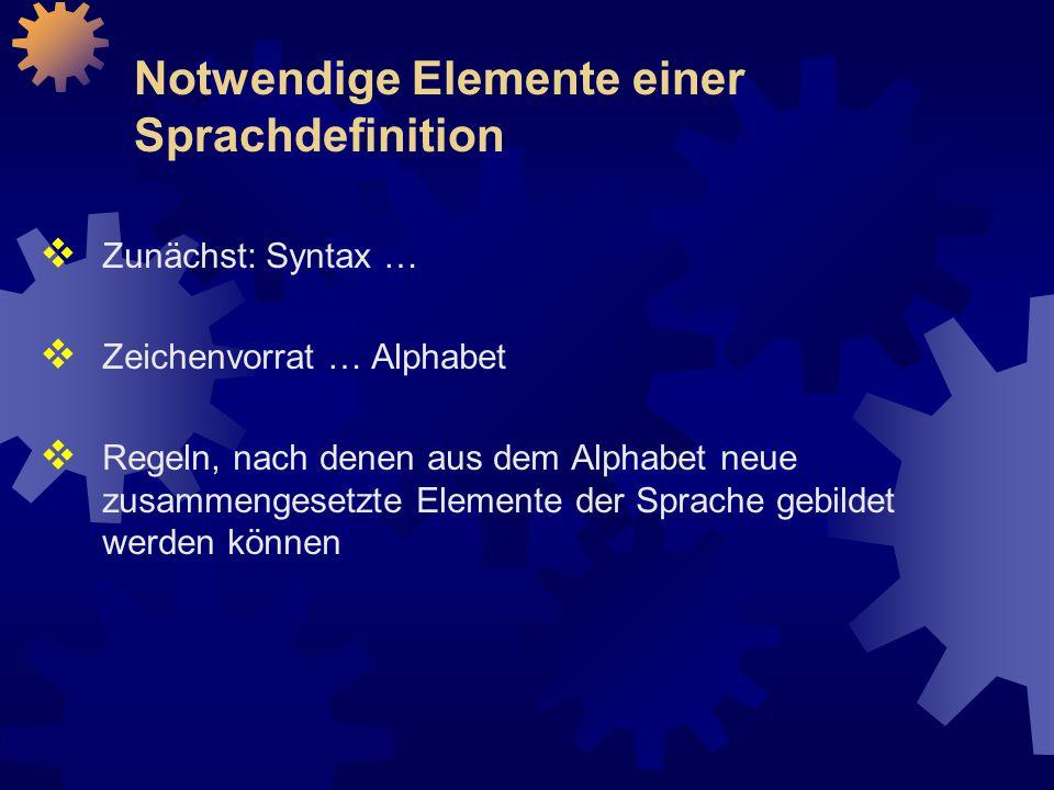 Notwendige Elemente einer Sprachdefinition