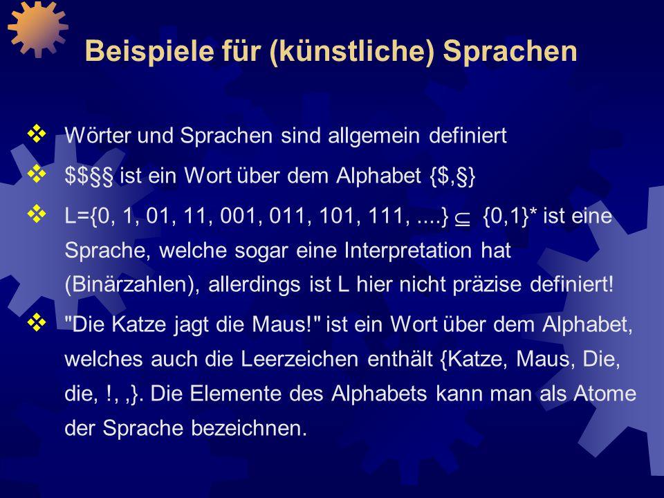 Beispiele für (künstliche) Sprachen