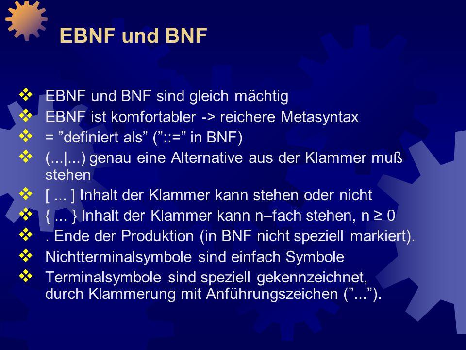 EBNF und BNF EBNF und BNF sind gleich mächtig