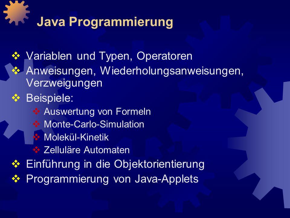 Java Programmierung Variablen und Typen, Operatoren