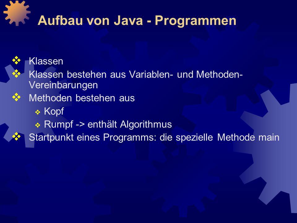 Aufbau von Java - Programmen