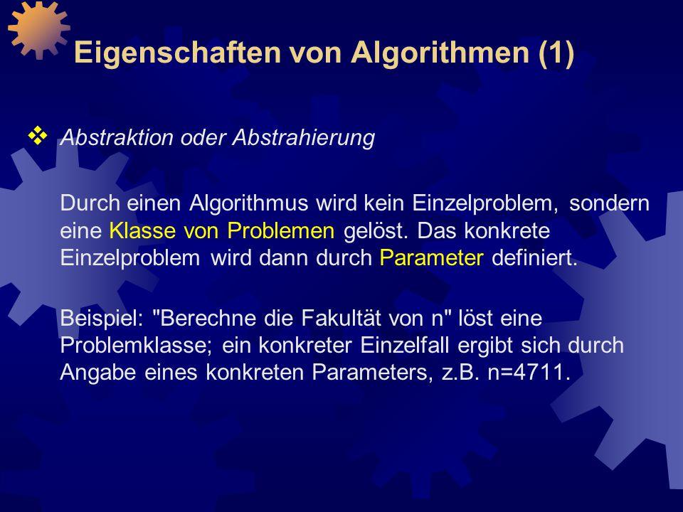 Eigenschaften von Algorithmen (1)