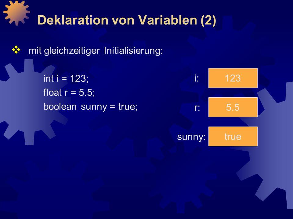 Deklaration von Variablen (2)