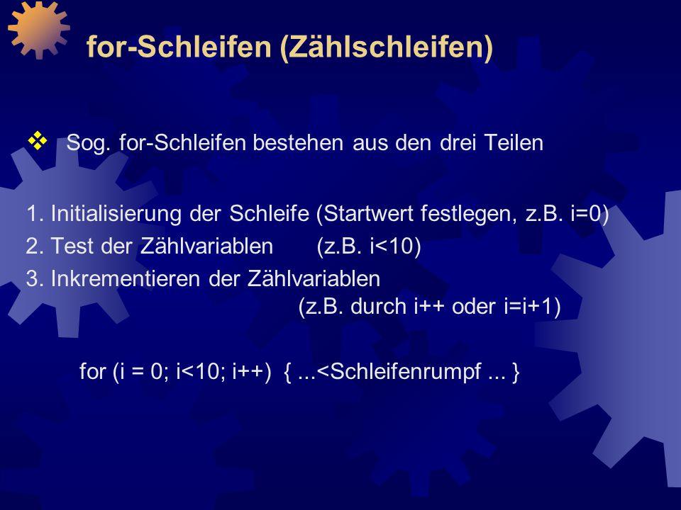 for-Schleifen (Zählschleifen)