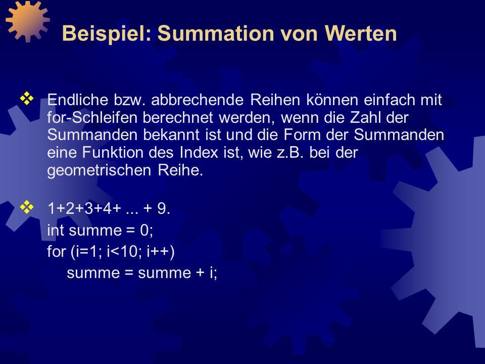 Beispiel: Summation von Werten