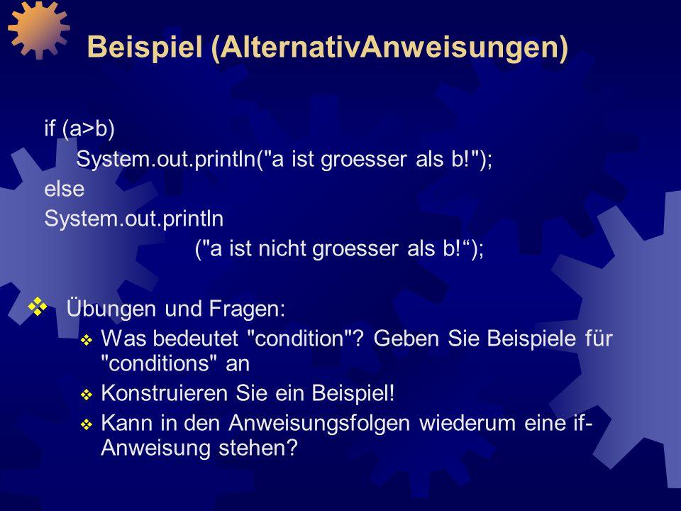Beispiel (AlternativAnweisungen)
