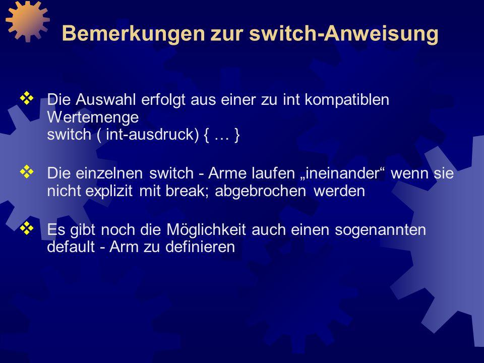 Bemerkungen zur switch-Anweisung