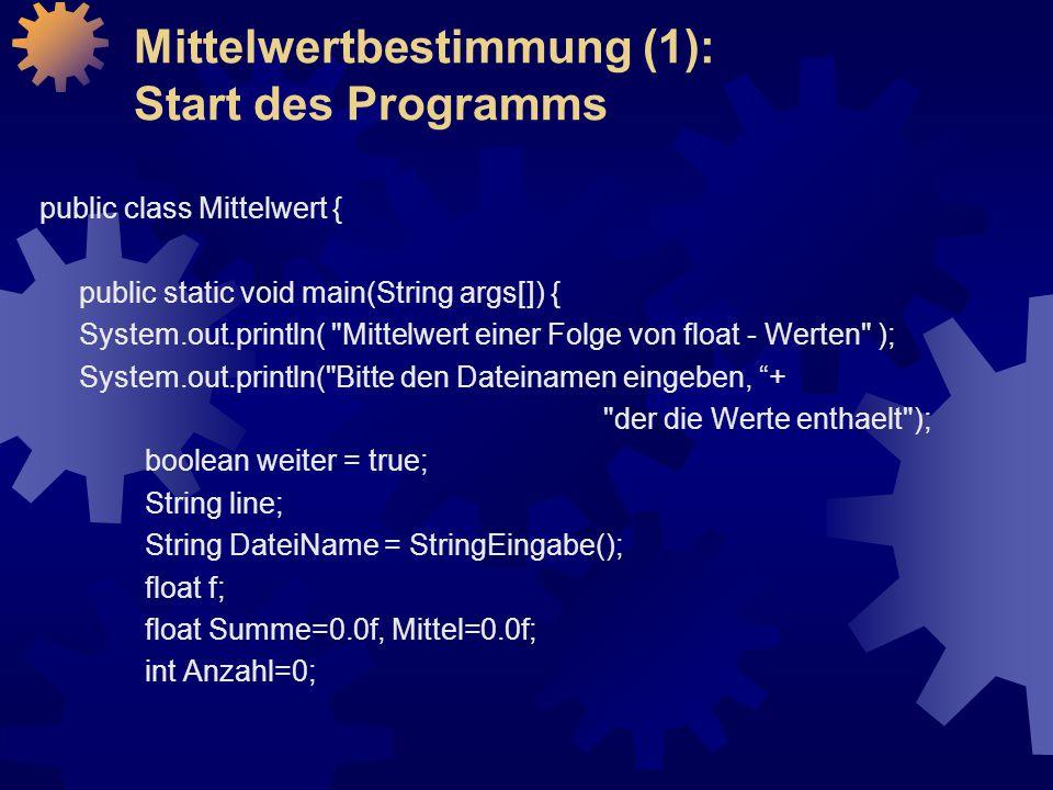 Mittelwertbestimmung (1): Start des Programms