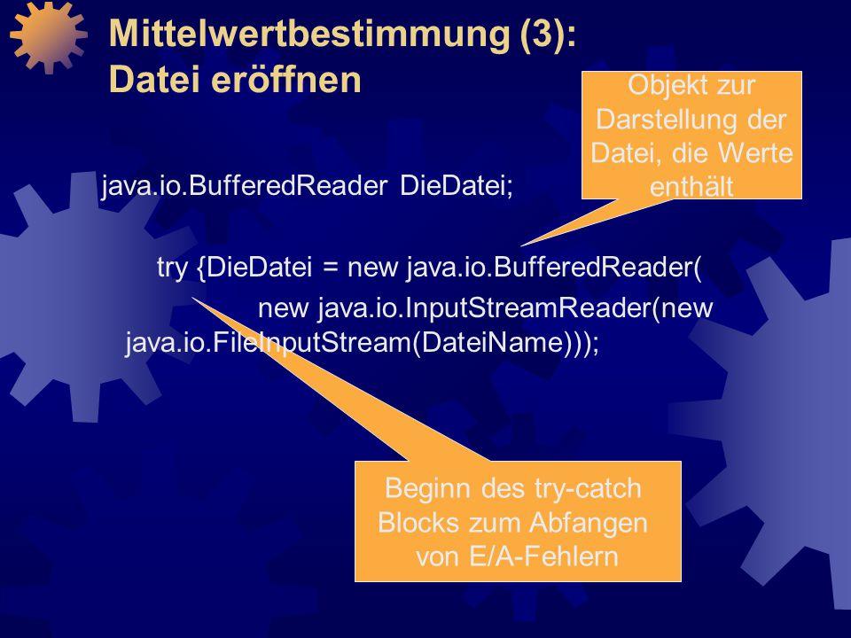 Mittelwertbestimmung (3): Datei eröffnen