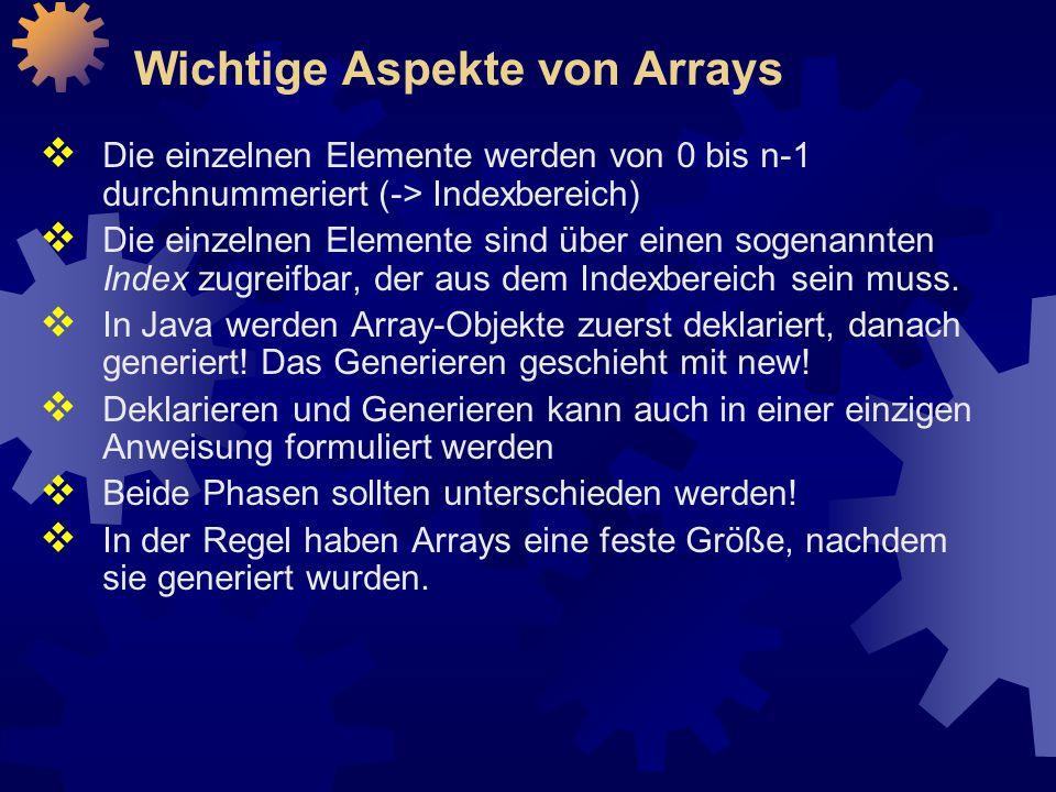 Wichtige Aspekte von Arrays
