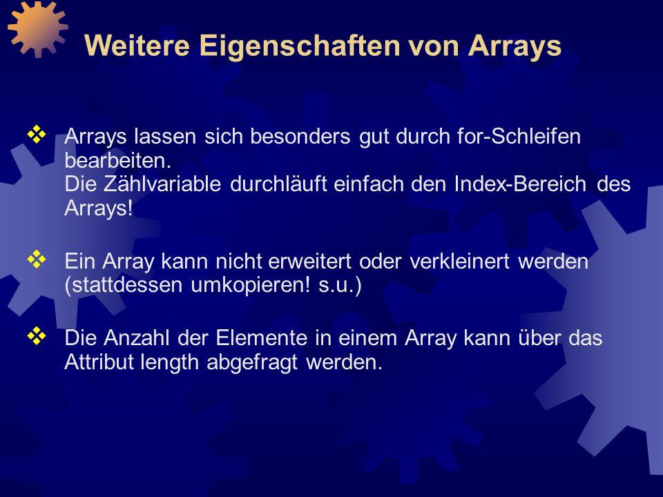 Weitere Eigenschaften von Arrays