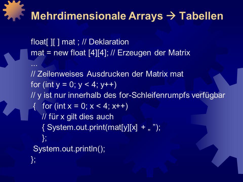 Mehrdimensionale Arrays  Tabellen