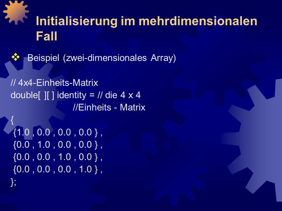 Initialisierung im mehrdimensionalen Fall