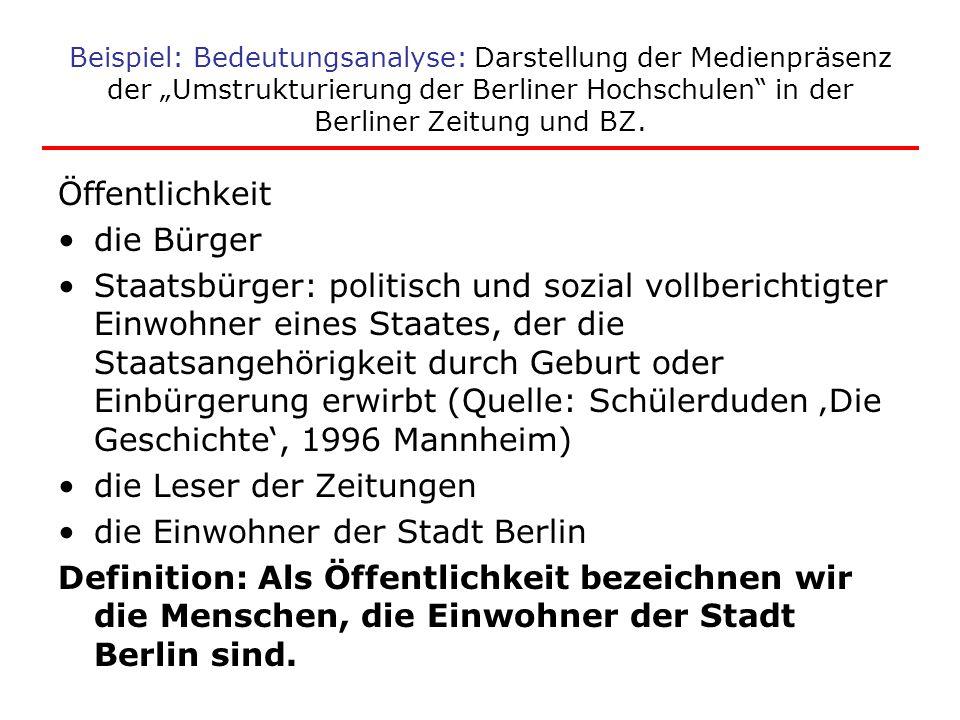 die Leser der Zeitungen die Einwohner der Stadt Berlin
