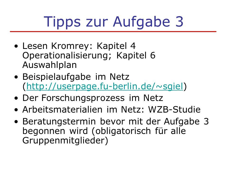 Tipps zur Aufgabe 3 Lesen Kromrey: Kapitel 4 Operationalisierung; Kapitel 6 Auswahlplan.
