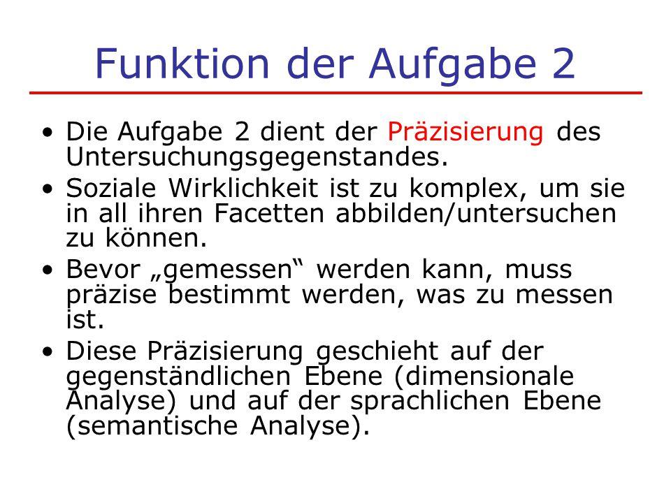 Funktion der Aufgabe 2 Die Aufgabe 2 dient der Präzisierung des Untersuchungsgegenstandes.