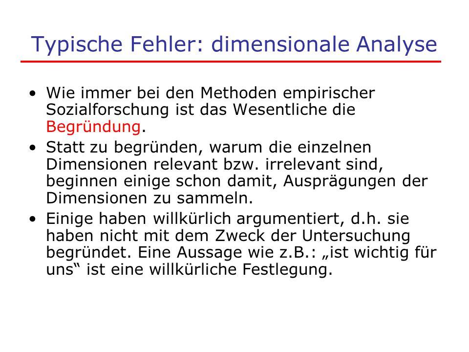 Typische Fehler: dimensionale Analyse