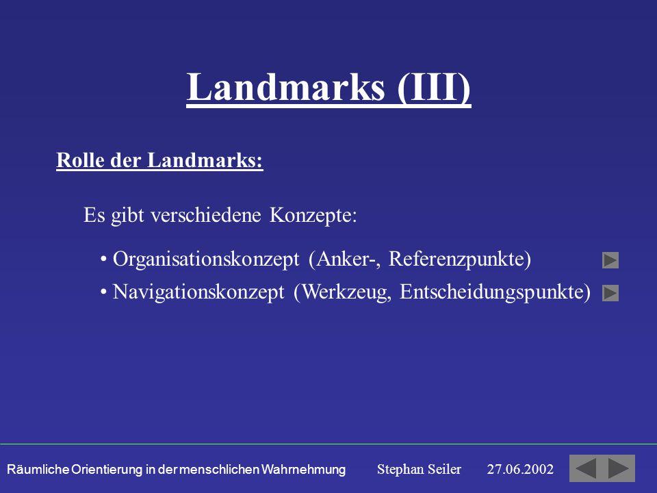 Landmarks (III) Rolle der Landmarks: Es gibt verschiedene Konzepte: