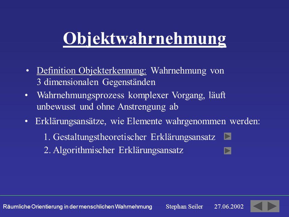 Objektwahrnehmung Definition Objekterkennung: Wahrnehmung von 3 dimensionalen Gegenständen.
