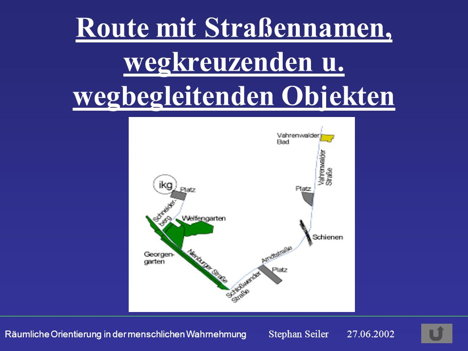 Route mit Straßennamen, wegkreuzenden u. wegbegleitenden Objekten