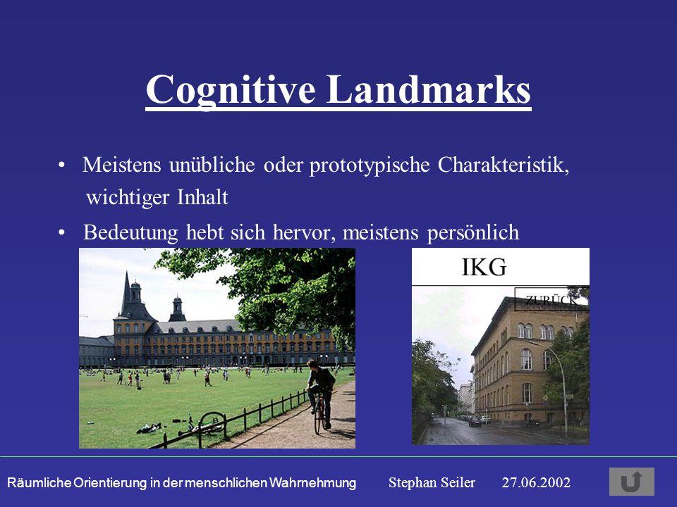 Cognitive Landmarks Meistens unübliche oder prototypische Charakteristik, wichtiger Inhalt.