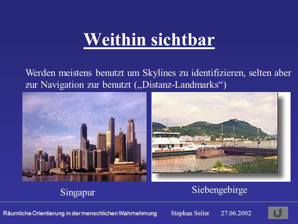 """Weithin sichtbar Werden meistens benutzt um Skylines zu identifizieren, selten aber zur Navigation zur benutzt (""""Distanz-Landmarks )"""