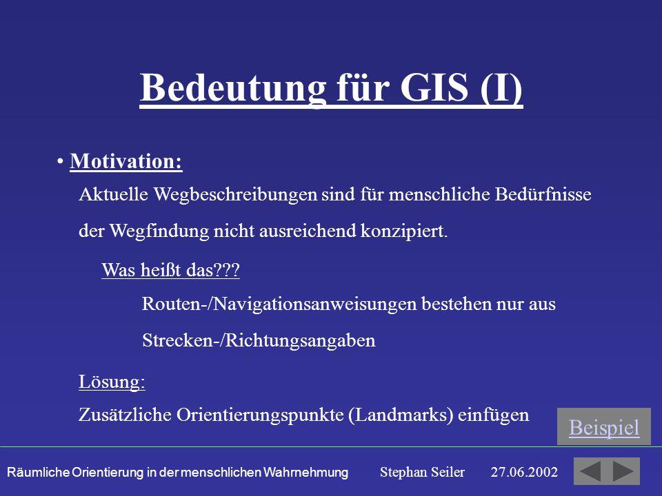 Bedeutung für GIS (I) Motivation: Beispiel