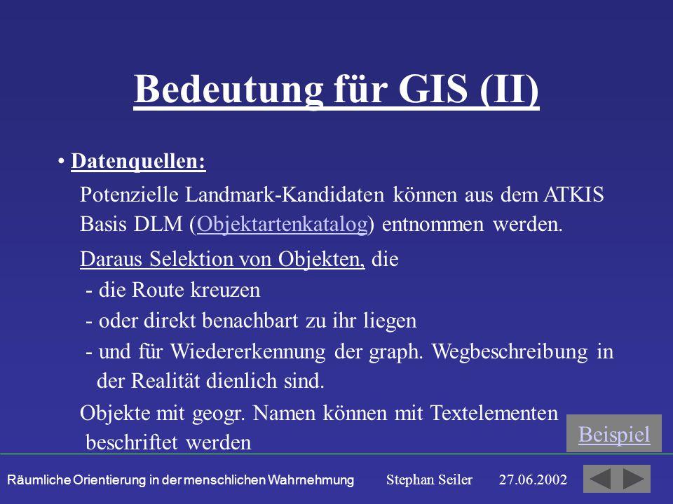Bedeutung für GIS (II) Datenquellen: