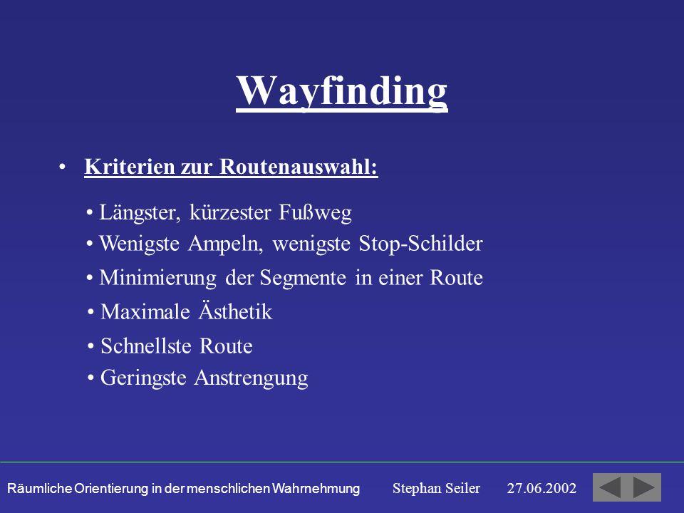 Wayfinding Kriterien zur Routenauswahl: Längster, kürzester Fußweg