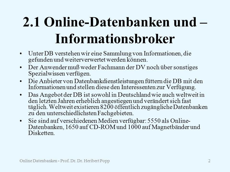 2.1 Online-Datenbanken und –Informationsbroker